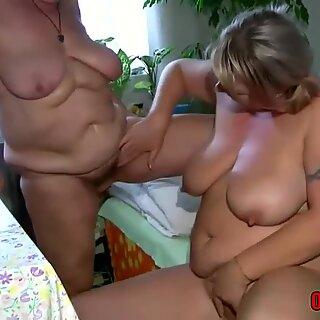 FFM threesome by granny and a BBW