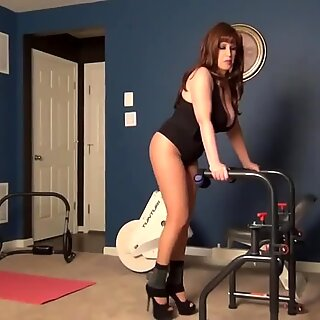 Samantha Legs workout in pantyhose and heels