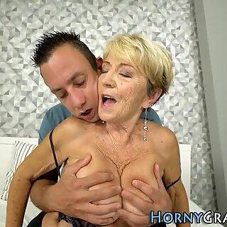 Hairy grandma jizzed on
