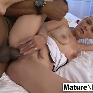 Blonde granny is down and dirty for interracial fucking