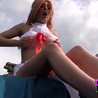 CosplayBabes Babe loves roleplaying outdoor