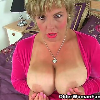 huge-titted milf Danielle plows herself with a dildo