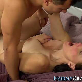 Horny grandmother blows