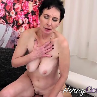 Buxom old woman with big tits railed