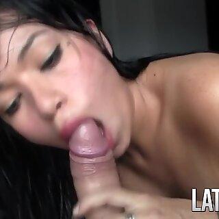 Frisky latina Marilin gives blowjob and uncovers her beautiful boobs