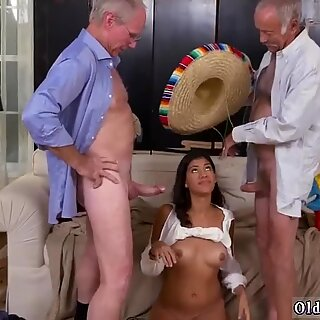 Mexican slut sucking two old dicks