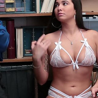 Karlee Greys hairy pussy railed sideways by the LP Officer