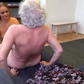 Depraved granny having lesbian sex with young girl