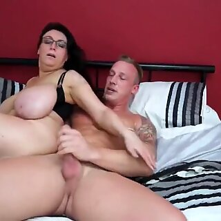 Taboo sex amazing busty mom and son