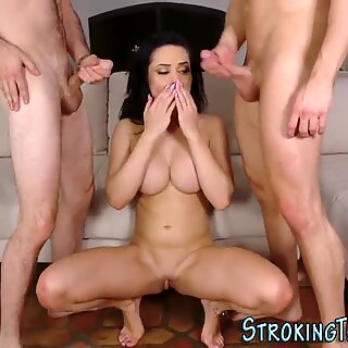 Milf gets banged by stepsons and sucks