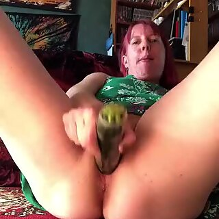 playing with a zucchini