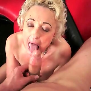 Granny sucking big cock and getting fucked hard
