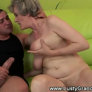 Mature fur covered grandma with immense tits fucked by guy
