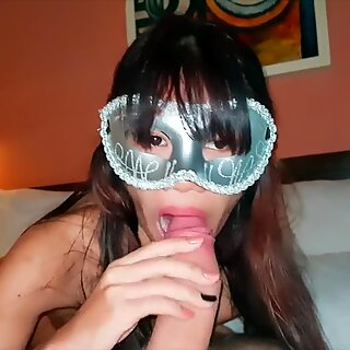 Tiny Thai sucking a big dick and enjoy it - GF 18 blowjob