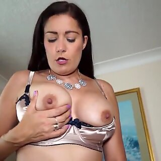Sexy real mother in white stockings