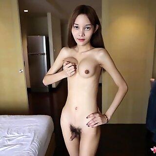 HELLOLADYBOY Fake Tit Asian Tries To Deep Throat Big Dick