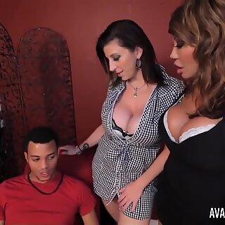 PornstarPlatinum - Ava Devine and Sarah Jay with son's pal
