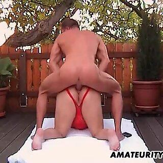Chubby amateur Milf anal fuck in the backyard