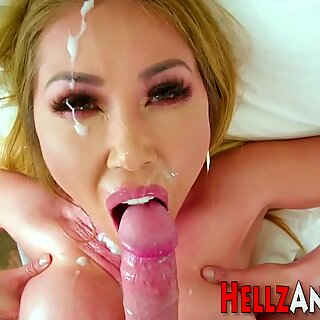 Busty asian ho sucks dick
