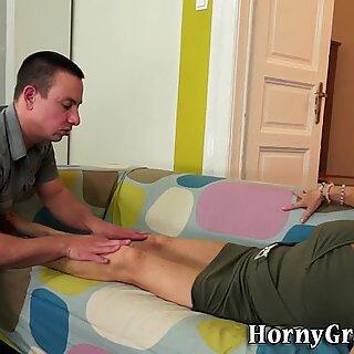 Grandma gets a foot rub