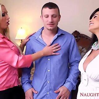 super-hot wives Lisa Ann and Nikki Benz sharing a hefty cock