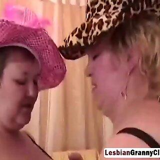 Two lesbian granny helping masturbating their fat horny pussy
