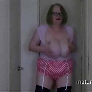 Stripping down to my pink girdle