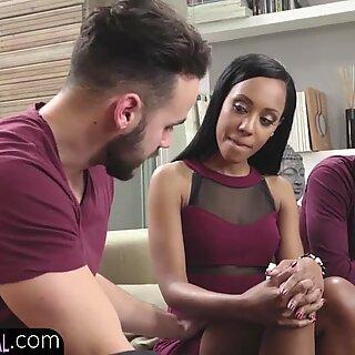 Ebony babe fucked doggystyle in threesome