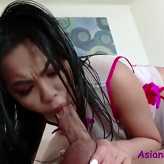 Asian Slut Rides American Cock Lubed Up